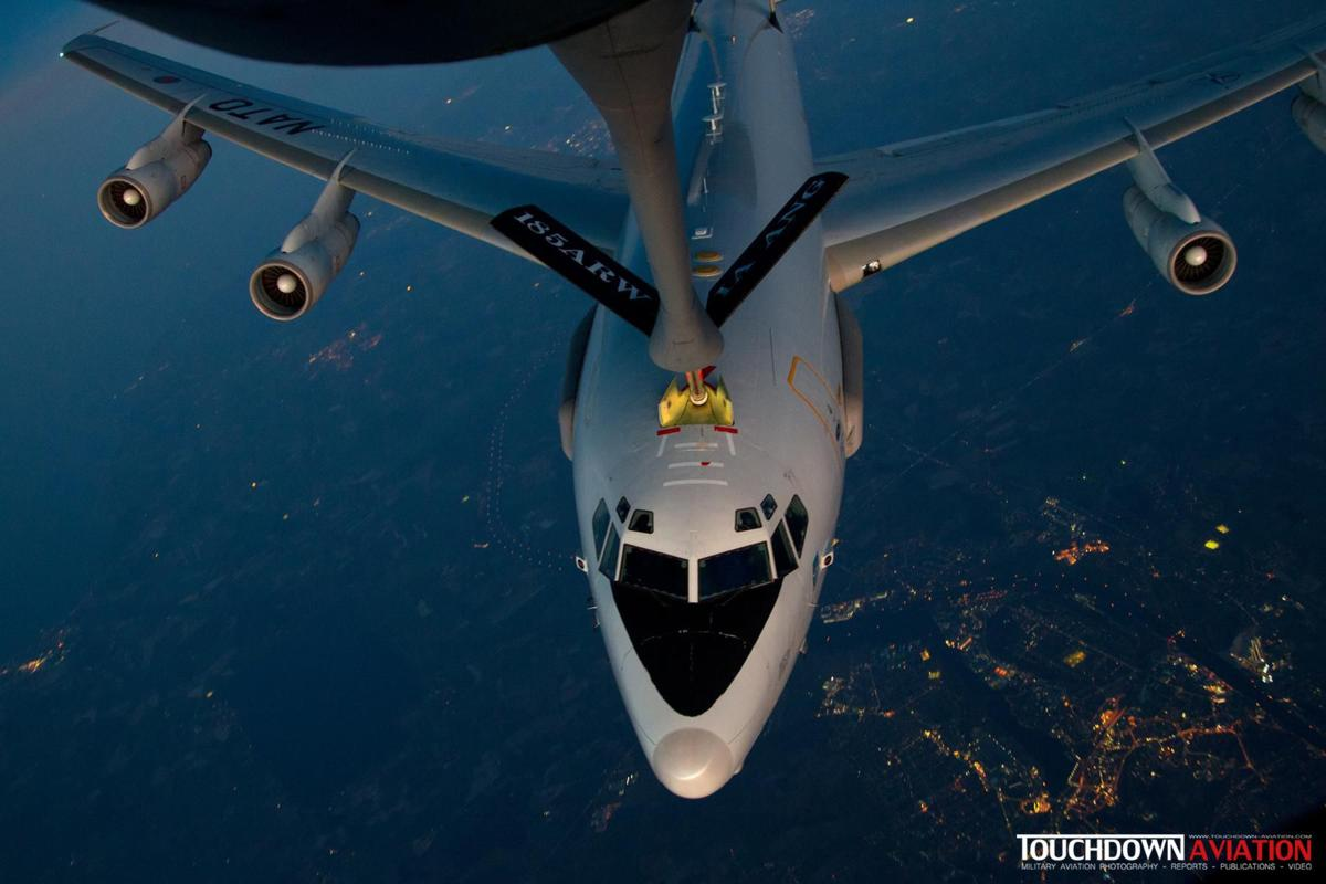 In flight in the Kim Long aerial refueling track above Germany
